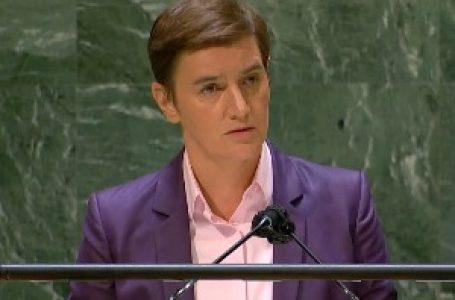 Brnabićeva u obraćanju GS UN: Priština rasplamsala veliku krizu, Beograd privržen traženju kompromisa